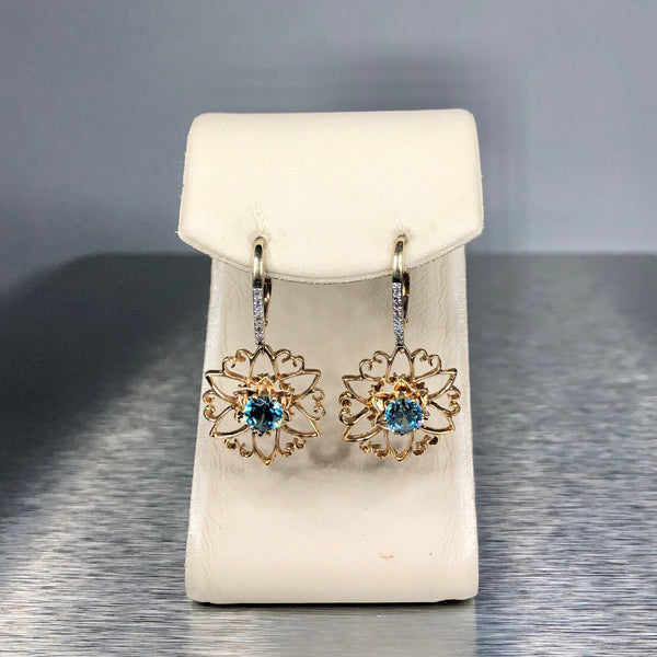 Estate 14k YG Blue Zircon Earrings