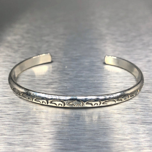 Estate Sterling Silver Zuni Bear Cuff Bracelet