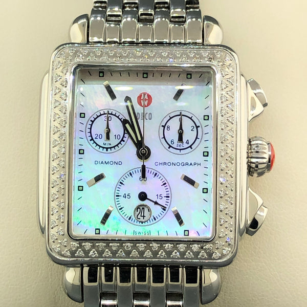 Estate Michele Deco Stainless Steel & Diamond Chronograph Lady's Watch