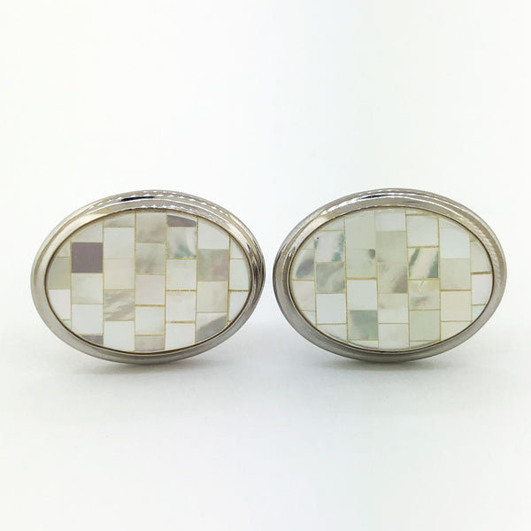 Estate Sterling Silver Mother Of Pearl Cuff Links