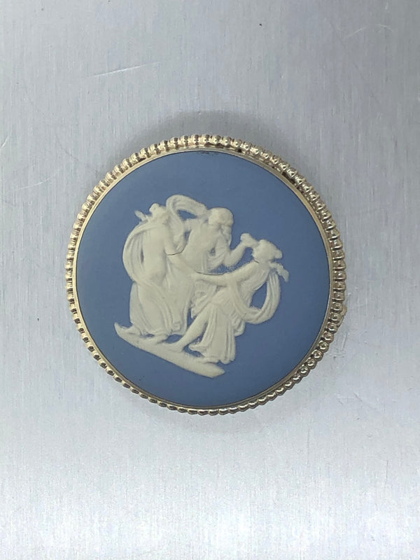 Estate Sterling Silver Blue Wedgewood Cameo
