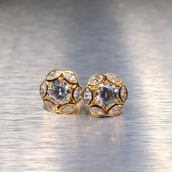 Estate Sterling Silver Gold Plate CZ Earrings