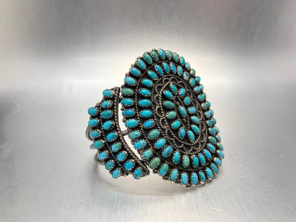 Estate Sterling Silver Large Turquoise Cluster Cuff