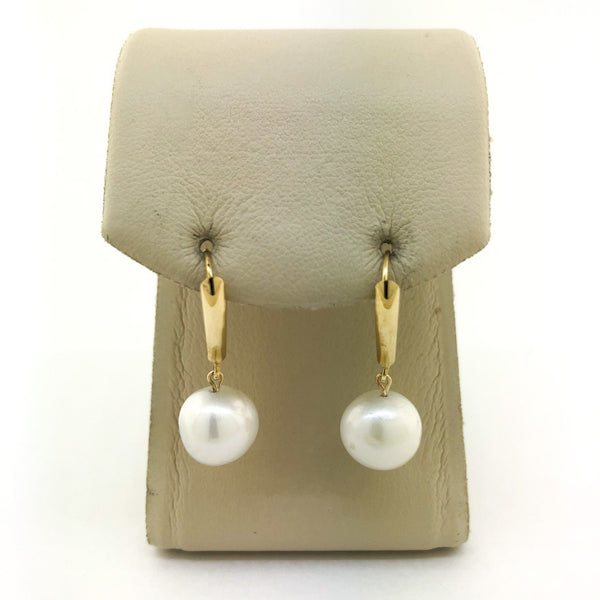 Estate 14kyg FWP Drop Leverback Earrings