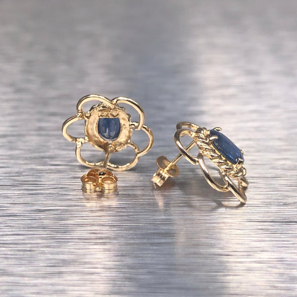Estate 14kyg Sapphire Flower Earrings