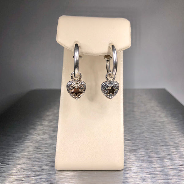 Estate Sterling Silver & 14k Heart Drop Earrings
