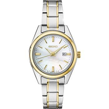 Ladies Seiko Mother of pearl dial date/calendar two-tone SUR636 - Walter Bauman Jewelers
