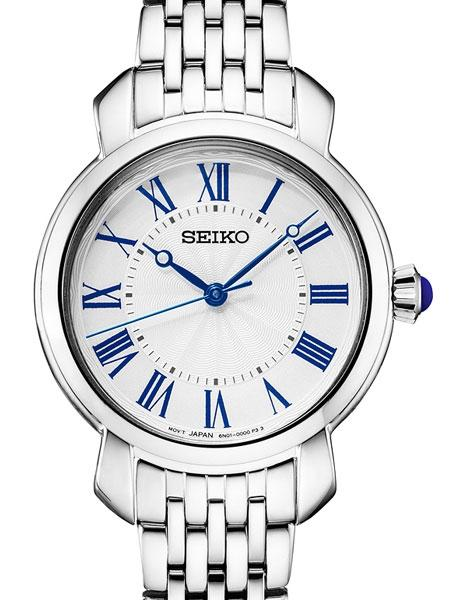 Ladies Seiko white dial blue hands and roman numerals cabachon crown SUR629 - Walter Bauman Jewelers