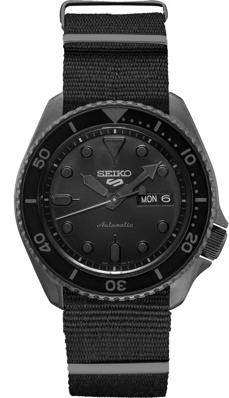Men's Seiko 5 Sports Stealth Black Automatic Dive Watch SRPD79 - Walter Bauman Jewelers