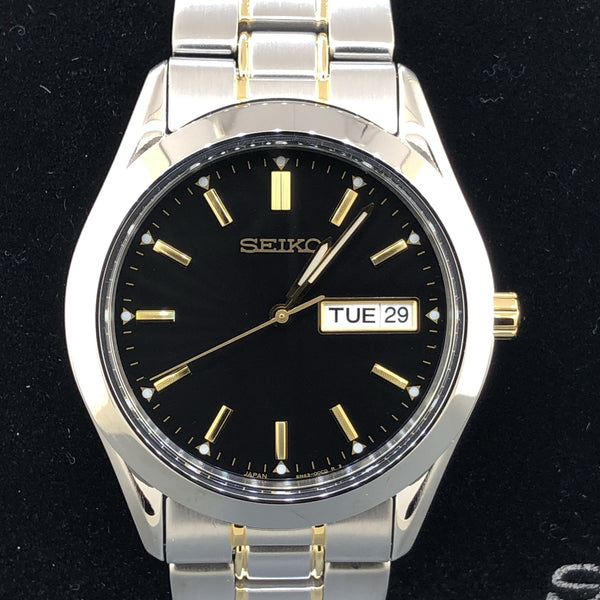 Men's Seiko Dark gray dial and gold accents Day/Date calendar SUR363 - Walter Bauman Jewelers