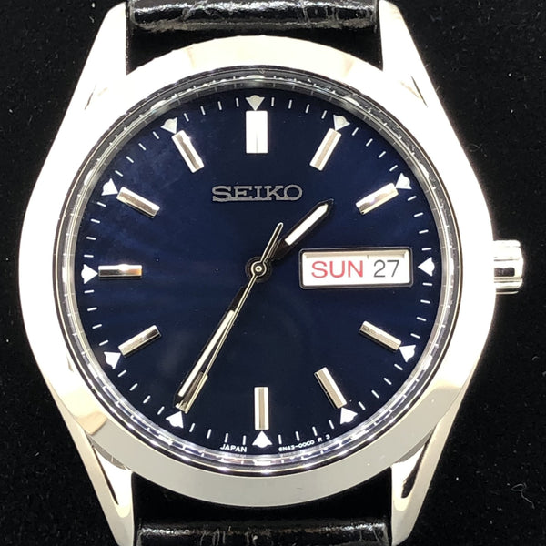 Men's Seiko day/date black leather band SUR317 - Walter Bauman Jewelers
