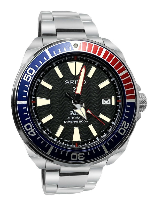 Men's Seiko Prospex PADI Automatic Steel Case Black Dial Steel Band Diver's SRPF09 - Walter Bauman Jewelers