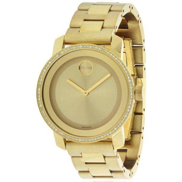 Movado Women's Bold Diamond Gold Dial 36mm Watch 3600150 - Walter Bauman Jewelers
