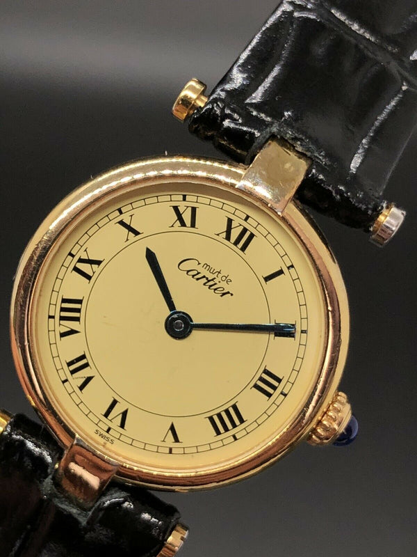 Estate Ladies Must de Cartier 590004 Sterling Silver Vermeil watch