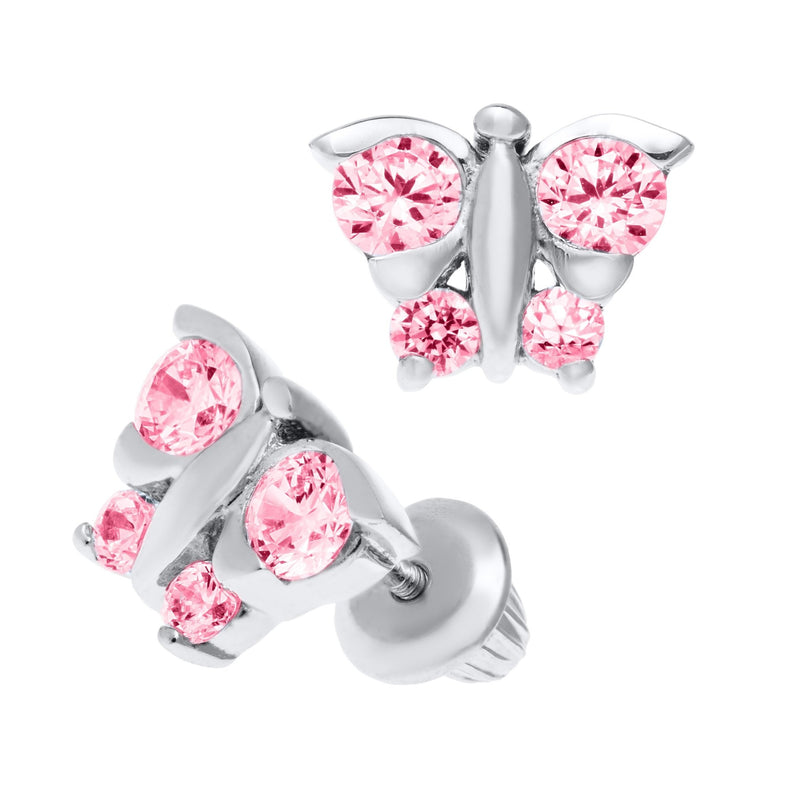 SS Butterfly Pink Cz Baby Studs - Walter Bauman Jewelers