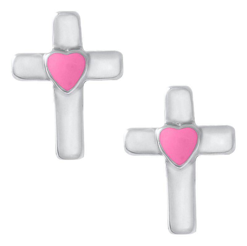 SS Cross With Pink Heart Baby Studs - Walter Bauman Jewelers