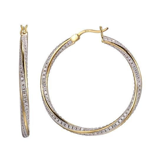 SS Hoop Earrings with CZ - Walter Bauman Jewelers