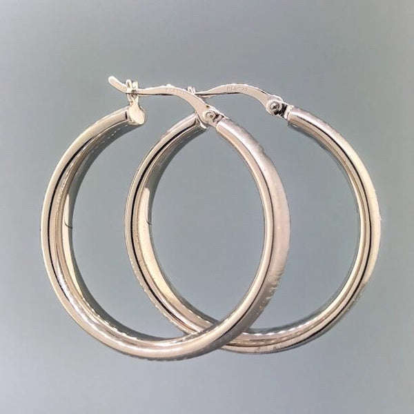 SS Medium Stardust Finish Hoop - Walter Bauman Jewelers