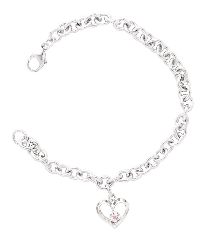 SS Open Heart Charm Bracelet with Pink Saphire - Walter Bauman Jewelers