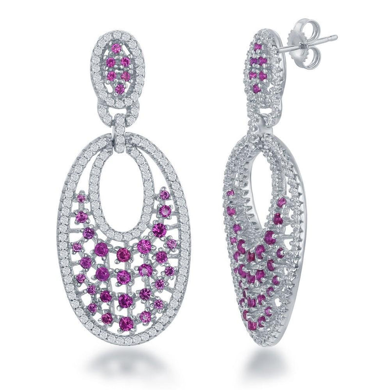SS Pink and White Cubic Zirconia Drop Earrings - Walter Bauman Jewelers