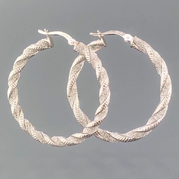 SS Stardust Finish Twisted Hoop with Hinged Closure - Walter Bauman Jewelers