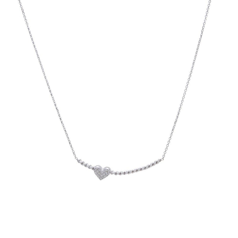 SS Twist Bar Necklace with Cubic Zirconia Heart - Walter Bauman Jewelers