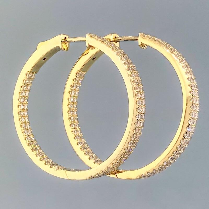 SS Yellow Gold Plated Double Row Cubic Zirconia In/Out Hoops - Walter Bauman Jewelers
