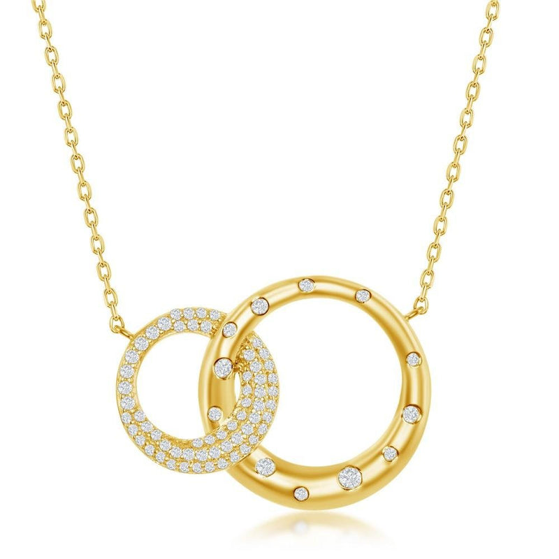 SS YGP Double Circle Necklace - Walter Bauman Jewelers