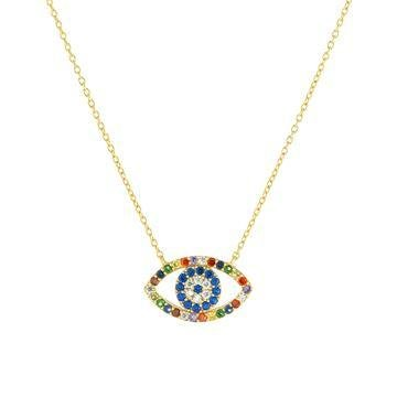 SS YGP Multi Color Crystals Guardian Eye Pendant - Walter Bauman Jewelers