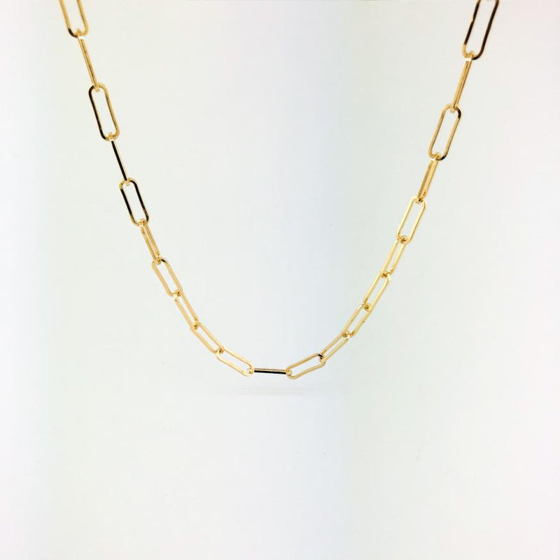 "Stainless steel 20"" yellow gold plated paperclip necklace - Walter Bauman Jewelers"