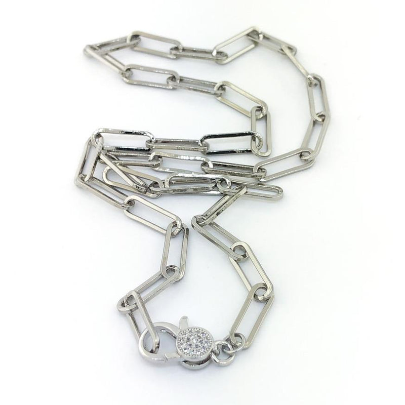 Stainless steel paperclip necklace 18 - Walter Bauman Jewelers