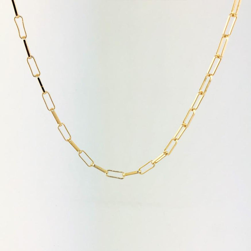 "Stainless steel yellow gold plated 18"" paperclip necklace - Walter Bauman Jewelers"