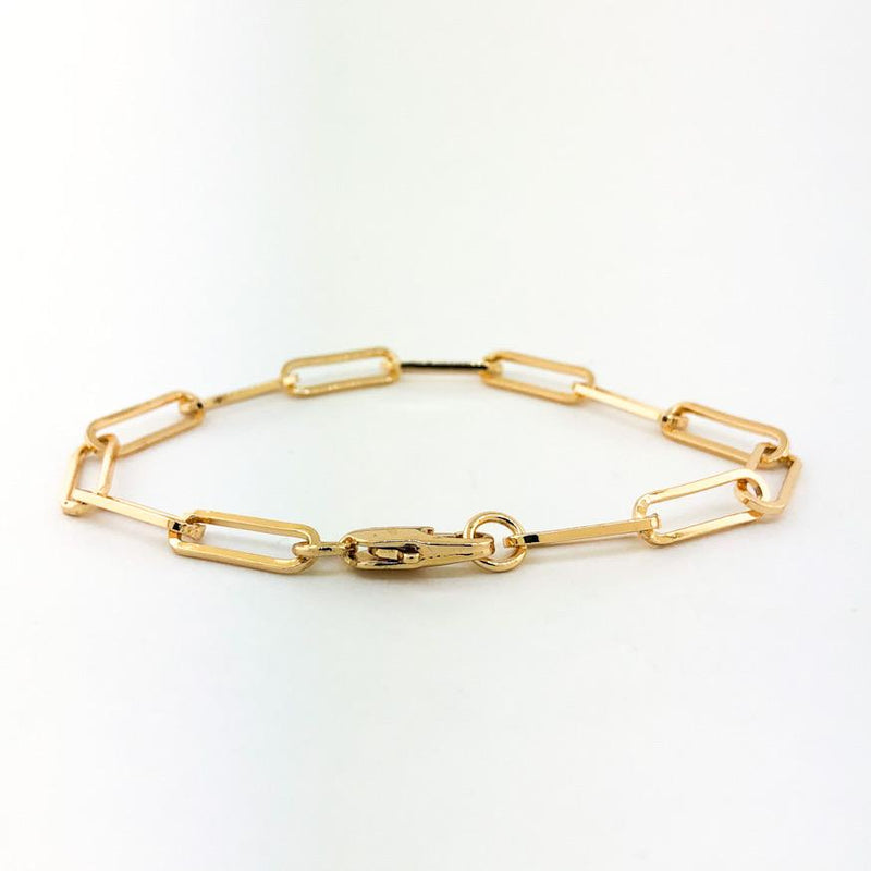 "Stainless steel yellow gold plated large paperclip bracelet 7"" - Walter Bauman Jewelers"