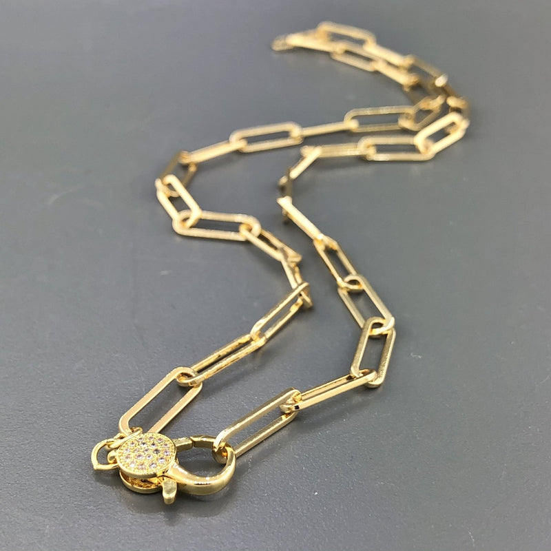 Stainless yellow gold plated paperclip necklace with cubic zirconia clasp - Walter Bauman Jewelers
