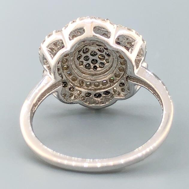 Sterling Silver 1cttw Black & White Diamond Flower Ring - Walter Bauman Jewelers