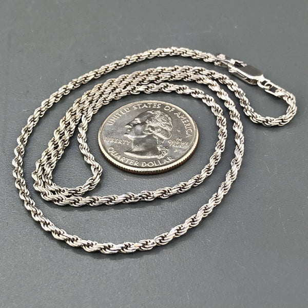 "Sterling Silver 20"" 2.2mm Solid Rope Chain - Walter Bauman Jewelers"