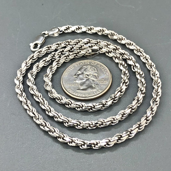 "Sterling Silver 20"" 3.8mm Solid Diamond Cut Rope Chain - Walter Bauman Jewelers"