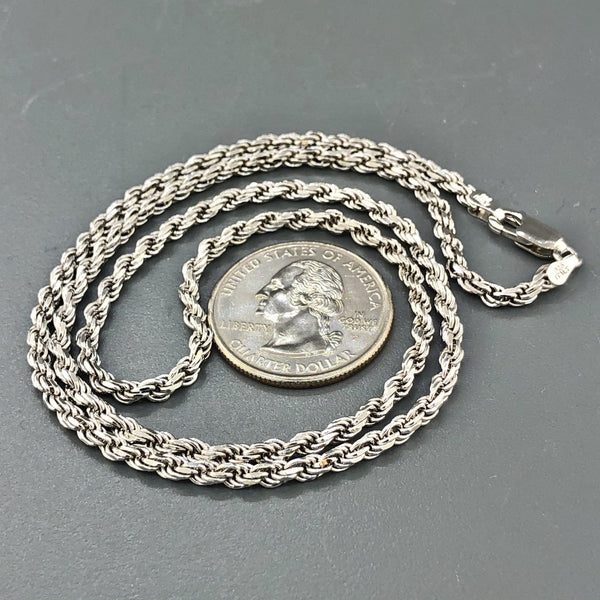 "Sterling Silver 20"" 3mm Solid Rope Chain - Walter Bauman Jewelers"