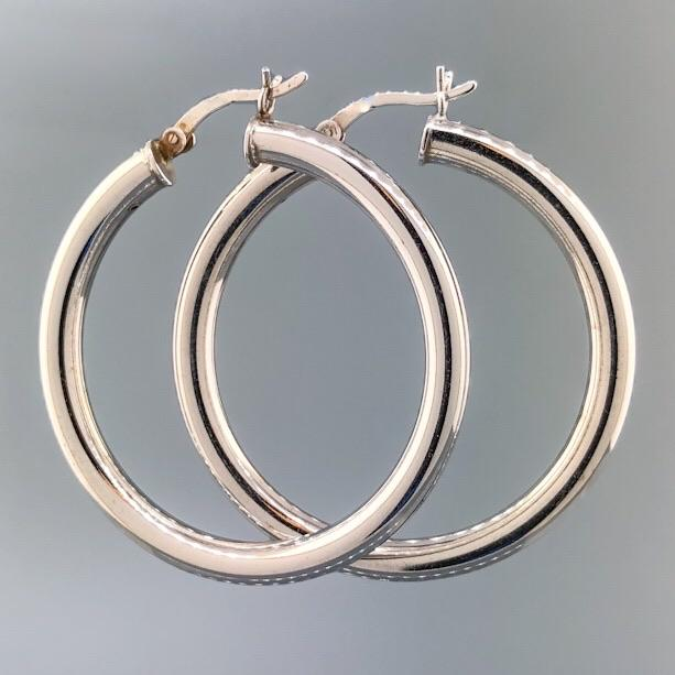 Sterling Silver 4x35mm Hoop Earring with Hinged Closure. - Walter Bauman Jewelers