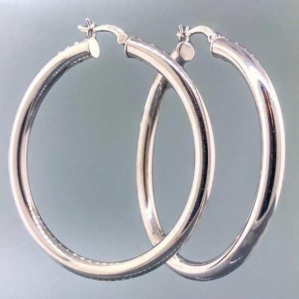 Sterling Silver 4x40mm Hinged Hoop - Walter Bauman Jewelers