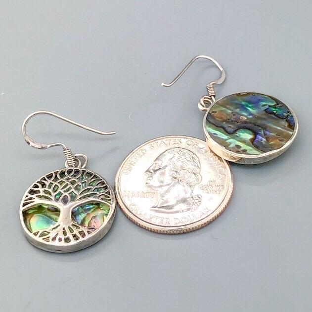Sterling Silver & Abalone Tree of Life Earrings - Walter Bauman Jewelers