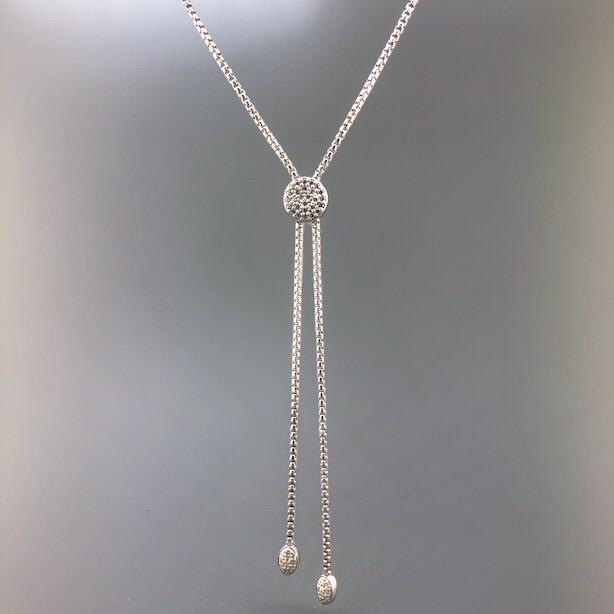 Sterling Silver Bolo Necklace with CZ - Walter Bauman Jewelers