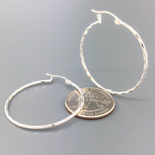 Sterling Silver Diamond Cut Hoop 2.6 - Walter Bauman Jewelers