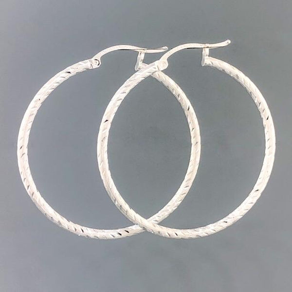 Sterling Silver Diamond Cut Hoop 3.8 - Walter Bauman Jewelers