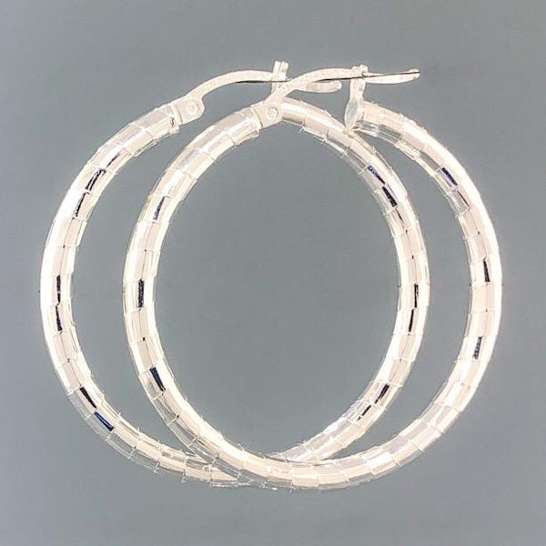 Sterling Silver Diamond Cut Hoop 4.9 - Walter Bauman Jewelers