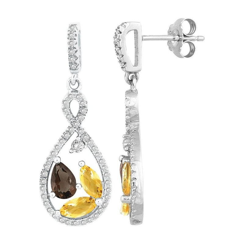 Sterling Silver Marquise Citrine & Pear Smoky Quartz Earrings - Walter Bauman Jewelers