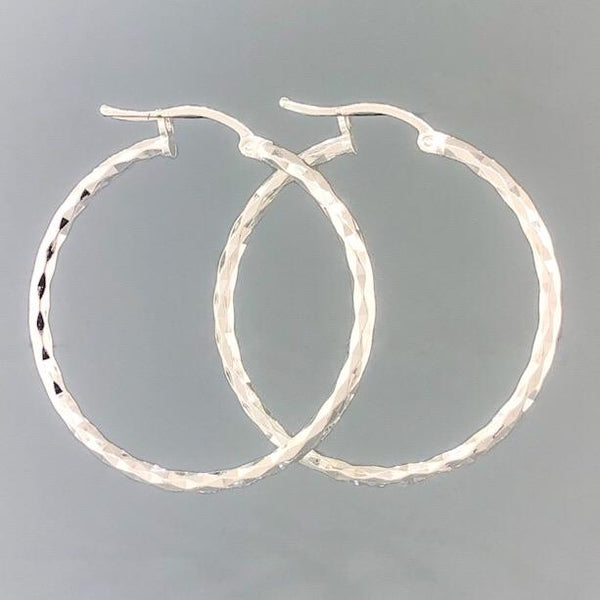 Sterling Silver Medium Diamond Cut Hoop 3.3grms - Walter Bauman Jewelers