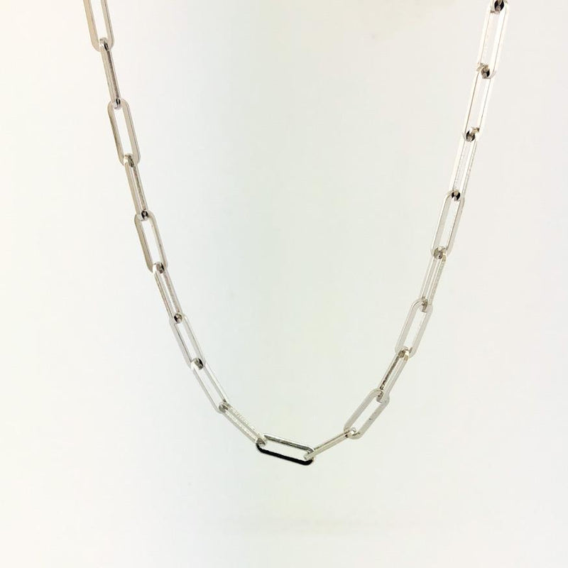 "Sterling silver medium paperclip necklace 18"" - Walter Bauman Jewelers"