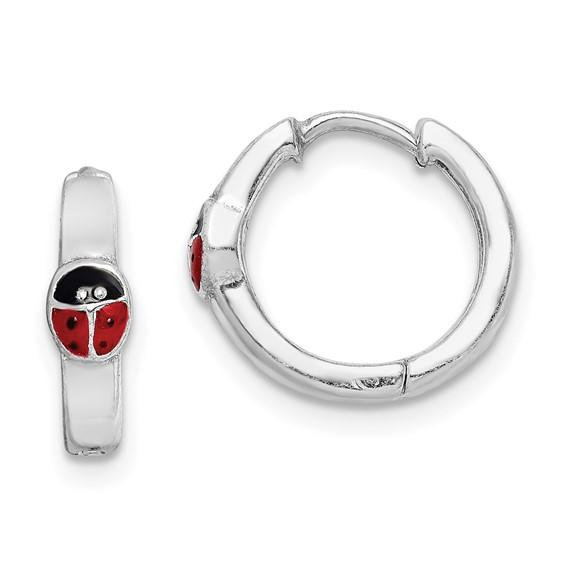 Sterling Silver Rhodium-plated Red Enameled Ladybug Hinged Hoop Earrings - Walter Bauman Jewelers