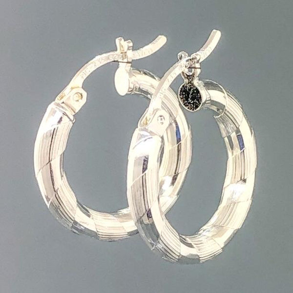 Sterling Silver Small Diamond Cut Hoop 2.3 - Walter Bauman Jewelers